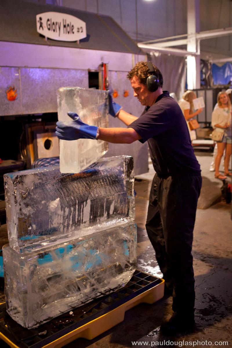 "alt=""Ice sculptor Dawson List prepares his stack"""